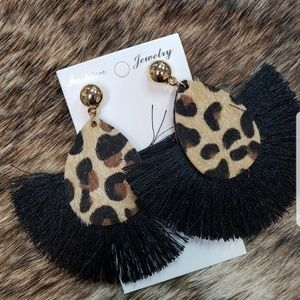 CHEETAH WITH BLACK TASSLE EARRINGS